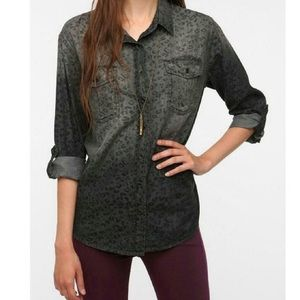 UO BDG Black Ombré Leopard Print Button Up Shirt